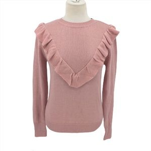 English Factory Pink Ruffle Crew Neck Pullover